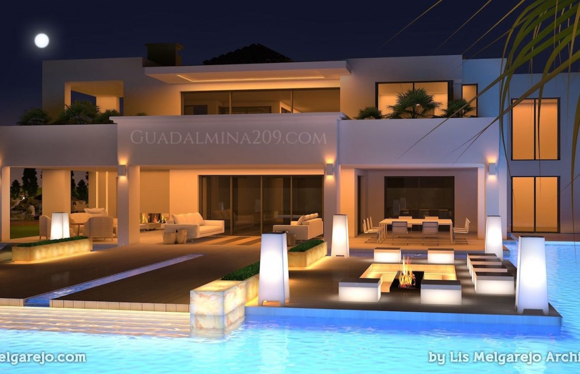 Marbella mansions for sale > Guadalmina 209 > Mansion pool at night